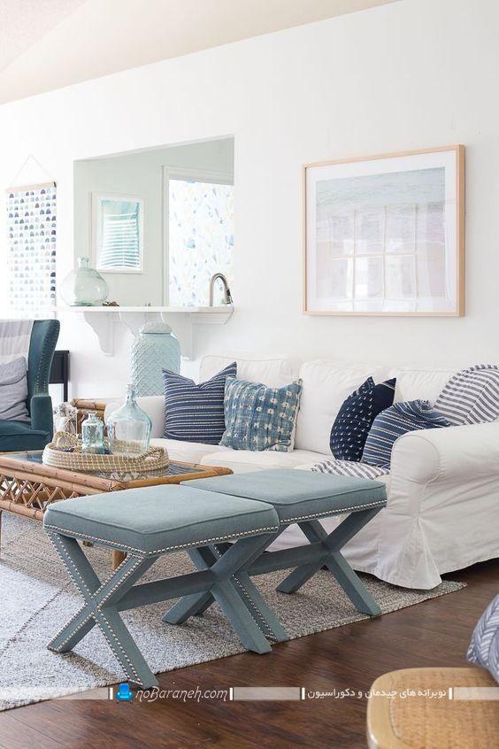 رنگ آمیزی اتاق نشیمن با آبی و سفید