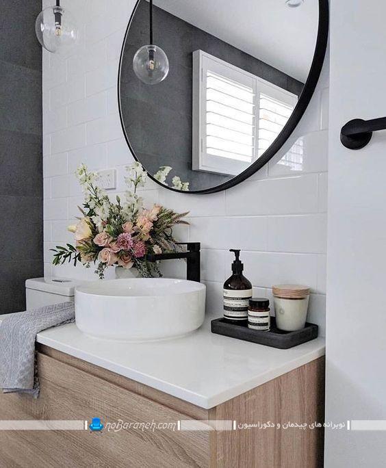 کاسه روشویی رو کابینتی روکار سفید رنگ برای کابینت ام دی اف در مدل های شیک امروزی. کاسه توالت کاسه روشویی سنگی رو کار روکابینتی