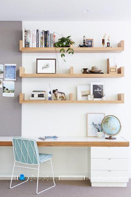 شلف های چوبی کتابخانه ایدر مدل های جدید یو شکل با تکیه گاه. طاقچه های چوبی زیبا جذاب برای دکوراسیون اتاق خواب و نصب روی دیوار میز تحریر.