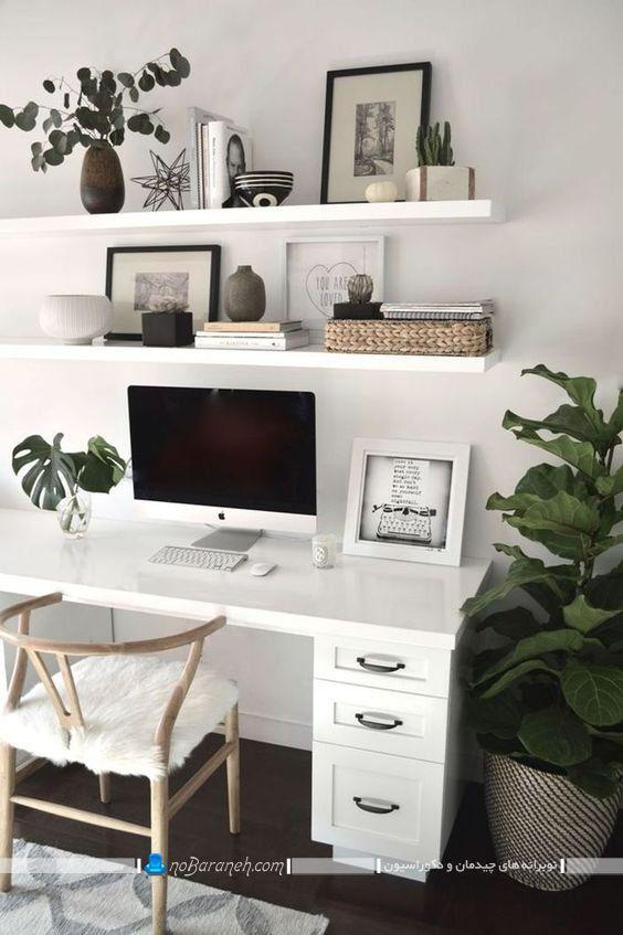 شلف و طاقچه چوبی سفید رنگ مدرن طرح جدید در مدل های متنوع برای تزیین دیوار پش میز تحریر. مدلهای جدید صندلی و میز تحریر دخترانه سفید رنگ.