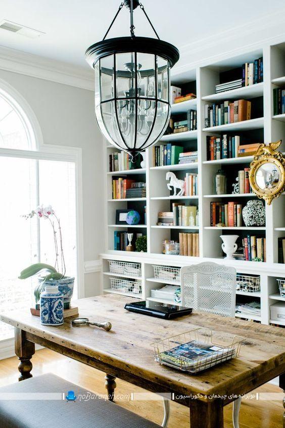 مدلهای جدید شلف و طاقچه چوبی کلاسیک و شیک به شکل کتابخانه خانگی بزرگ و باکس های جادار.