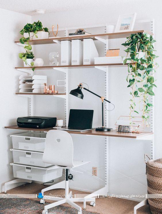 مدل های جدید قفسه بندی دیوار منزل طبقه های چوبی به شکل شلف. مدل دفتر کار خانگی شیک مدرن. دکوراسیون زنانه و دخترانه اتاق کار و مطالعه.