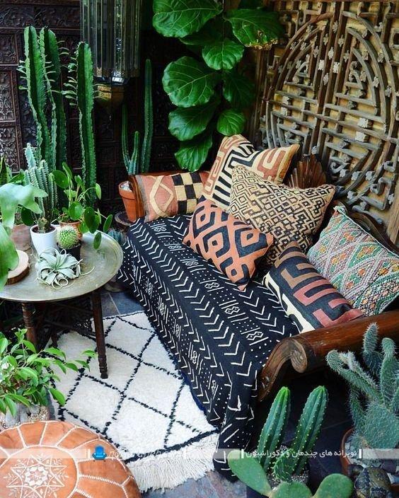 دکوراسیون اتاق پذیرایی به سبک بوهو