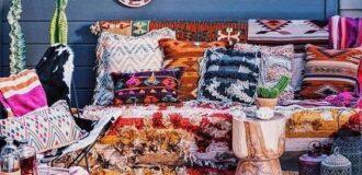 طراحی دکوراسیون بوهو با پارچه فرش (8)