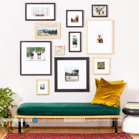تزیین دیوار راهرو منزل با نصب قاب عکس و تابلو عکس تزیینی با طرح های جدید و دیدنی شیک مدرن فانتزی دکوراتیو ارزان قیمت