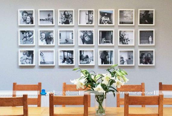 تزیین دیوار داخلی با تابلو عکس های قاب دار چند تکه شیک مدرن کوچک به شکل گالری عکس. تزیین دیوار اتاق نهارخوری با تابلو و قاب عکس های کوچک و چند تکه زیبا و شیک