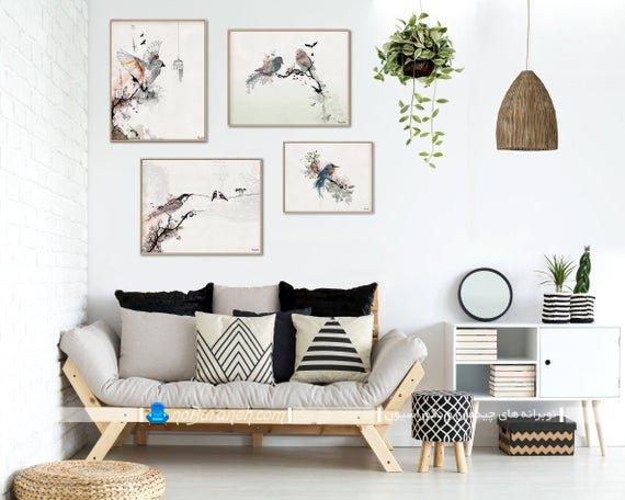 دیزاین دیوار پذیرایی با تابلو عکس یا قاب عکس های نقاشی شده شیک فانتزی مدرن ارزان قیمت