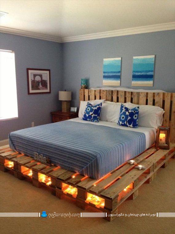 ساخت تخت خواب نورپردازی شده با پالت چوبی