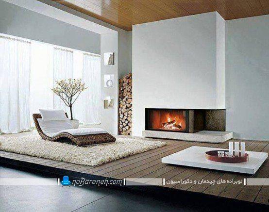اختلاف سطح چوبی در اتاق نشیمن و طراحی و معماری اتاق پذیرایی نیمه دوبلکس.