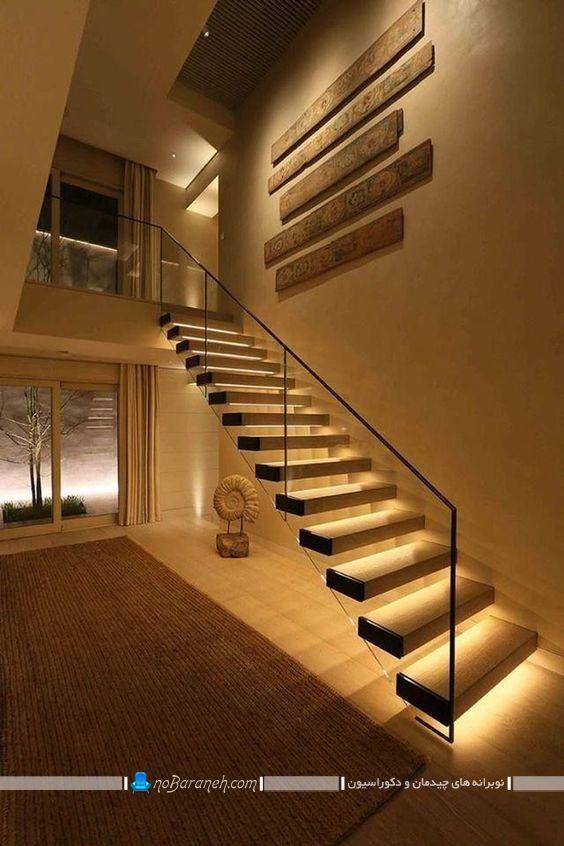 نورپردازی پله های دوبلکس مدرن به شیک ترین و زیباترین شکل ممکن. روشنایی راه پله ساختمان ایده های نصب چراغ روشنایی در راه پله دوبلکس چوبی و شیشه ای در خانه های سلطنتی و آپارتمان های مسکونی