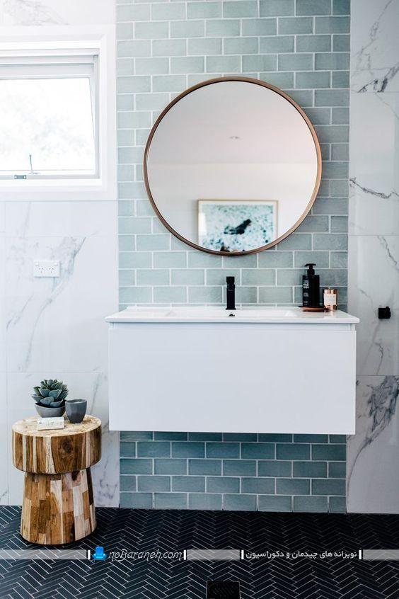تزیین دیوار پشت آینه سرویس بهداشتی با کاشی و سرامیک رنگ آبی