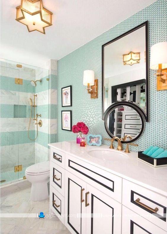 کاشی و سرامیک آبی فیروزه ای برای تزیین دیوارهای حمام و دستشویی. مدل های جدید کاشی دیواری برای سرویس بهداشتی در مدل های شیک مدرن فانتزی جدید.