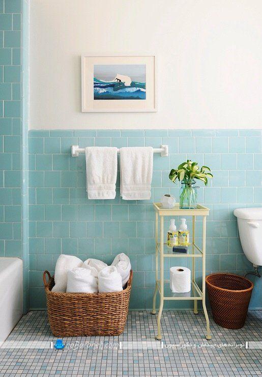 تزیین سرویس بهداشتی یا حمام و روشویی با رنگ آبی ، مدل های تزیین حمام و دستشویی با کاشی های دیواری آبی رنگ. دکوراسیون ساده حمام و توالت