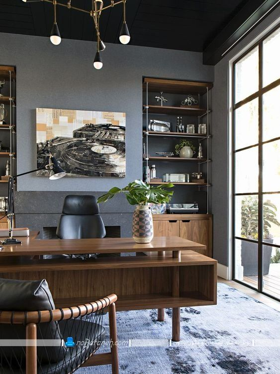 شلف و کتابخانه چوبی مدرن و اداری فانتزی طرح جدید با مدل های متنوع و شیک. دکوراسیون اتاق کار اداری در منزل به روش های متنوع و زیبا.