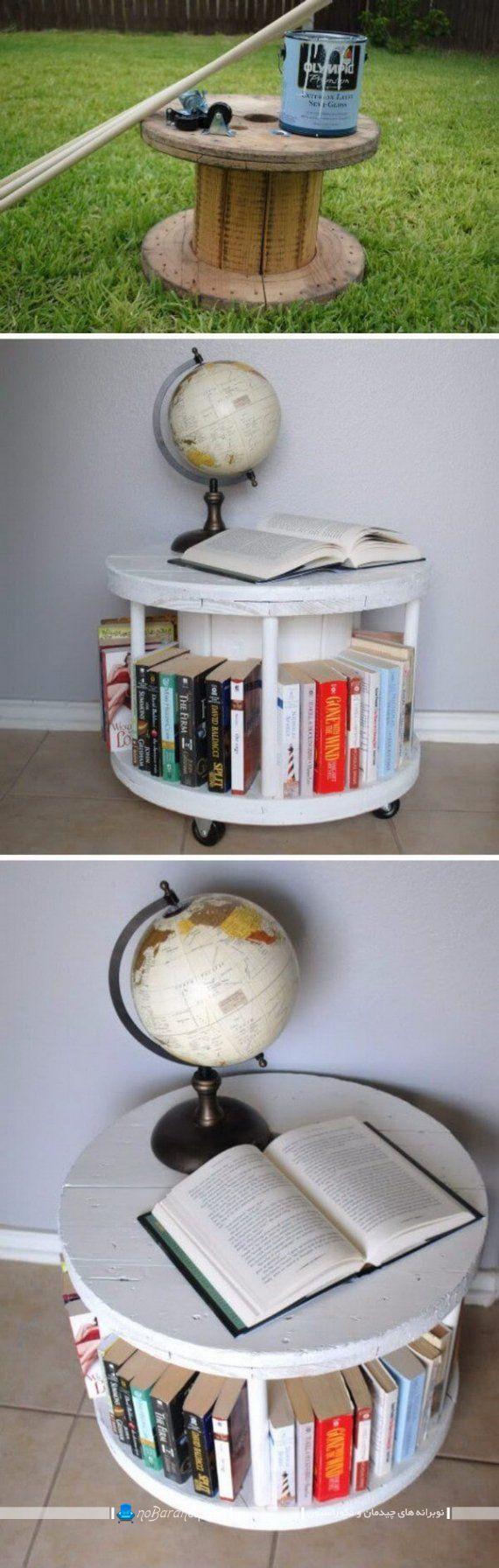 تبدیل قرقره کابل برق به کتابخانه چوبی ارزان قیمت