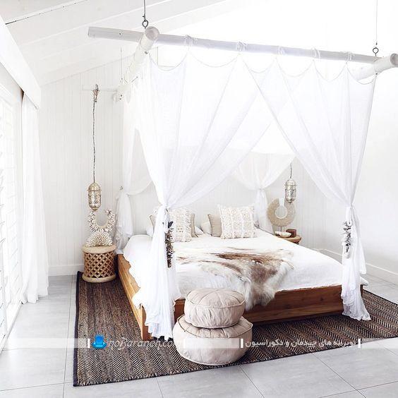 حجله تخت خواب و سرویس خواب عروس در مدل های فانتزی جدید شیک. تور بالای تخت عروس آویزان شده از سقف. سرویس خواب پرنسسی و سلطنتی اتاق عروس