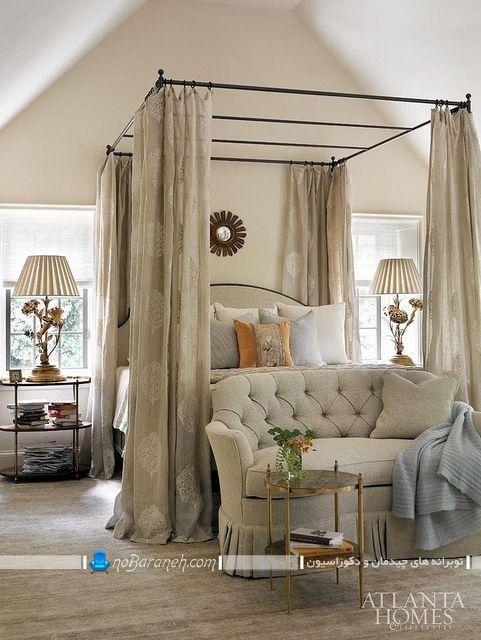 سرویس خواب و تخت خواب پرده دار و سایبان دار دو نفره عروس در مدل های سلطنتی و کلاسیک مجلل و شیک. تزیین تخت خواب دو نفره با پرده