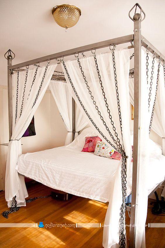 تخت خواب سایبان دار فلزی و حجله دار برای اتاق عروس در مدل های جدید فانتزی شیک. مدل توری درو تخت خواب عروس داماد. مدل سرویس خواب پرنسسی