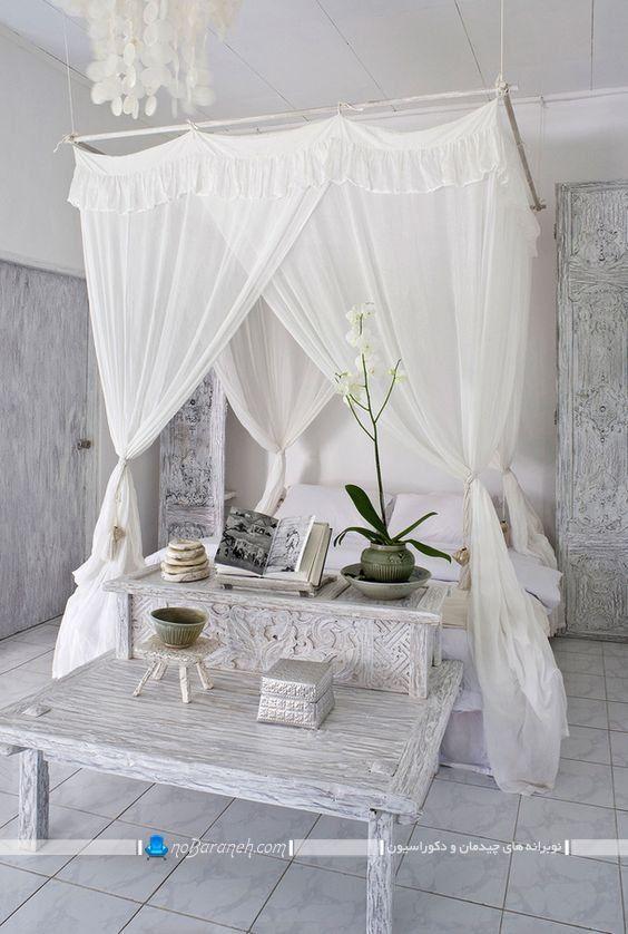 تخت خواب سلطنتی و کلاسیک حجله دار و سایبان دار شیک فانتزی با پرده توری دور سرویس خواب با عکس و مدل جدید تخت خواب پرنسسی