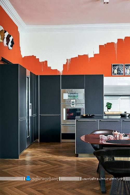 تزیین دیوار آشپزخانه با رنگ سفید و نارنجی خاکستری. مدل های جدید کابینت آشپزخانه مدرن. رنگ آمیزی شیک جذاب آشپزخانه عروس در مدل های جدید متنوع.