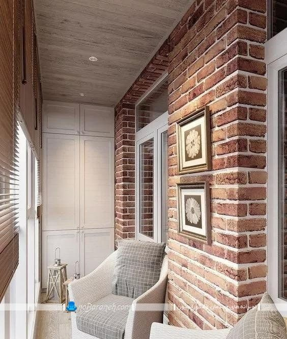 دیوارپوش طرح آجری برای تزیین کلاسیک بالکن و تراس منزل در مدل های شیک زیبا.