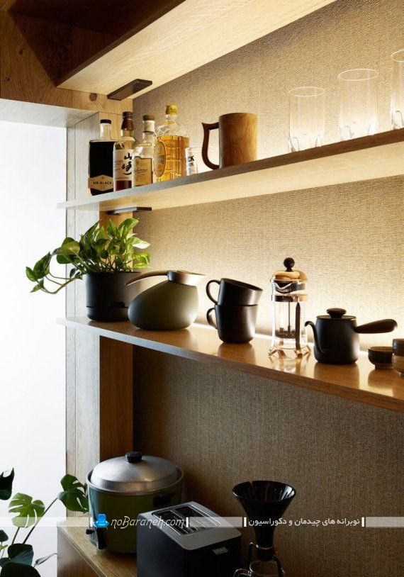 مدل شلف چوبی برای تزیین آشپزخانه کوچک به شکل مدرن شیک جدید.