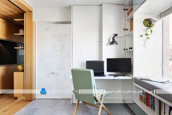 مدل میز تحریر مطالعه کوچک تاشو چوبی برای اتاق و منزل کوچک.