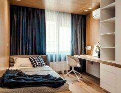 دکوراسیون چوبی اتاق خواب مجردی