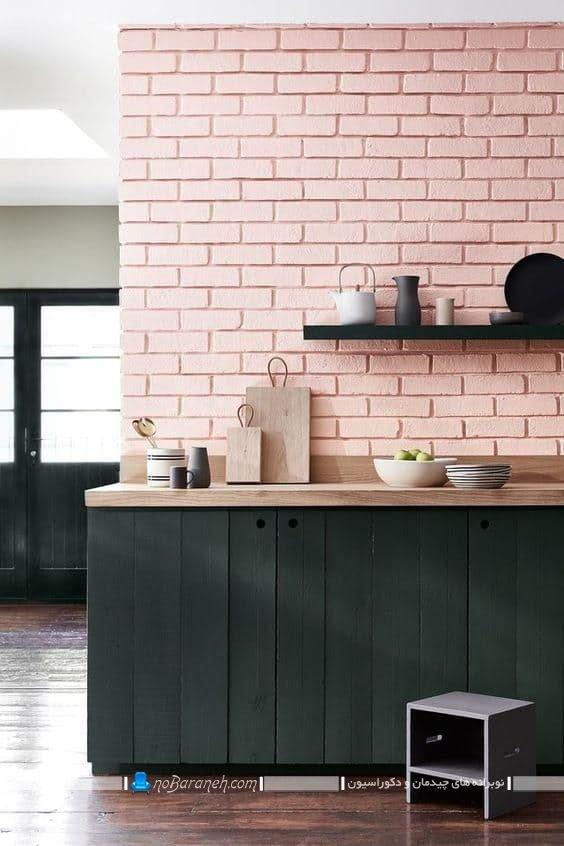 کاشی آجری دیواری آشپزخانه صورتی ، آشپزخانه صورتی عروس با طرح شیک مدرن ، دیزاین آشپزخانه با رنگ صورتی به سبک فانتزی و جدید. مدل های جدید دیوارپوش آشپزخانه اپن