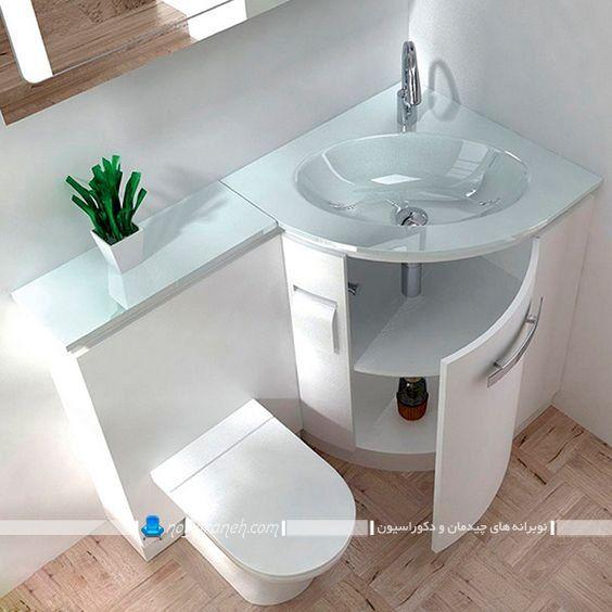 روشویی کنجی سه گوش کوچک با سرویس فرنگی و کابینت برای حمام کوچک کمجا.