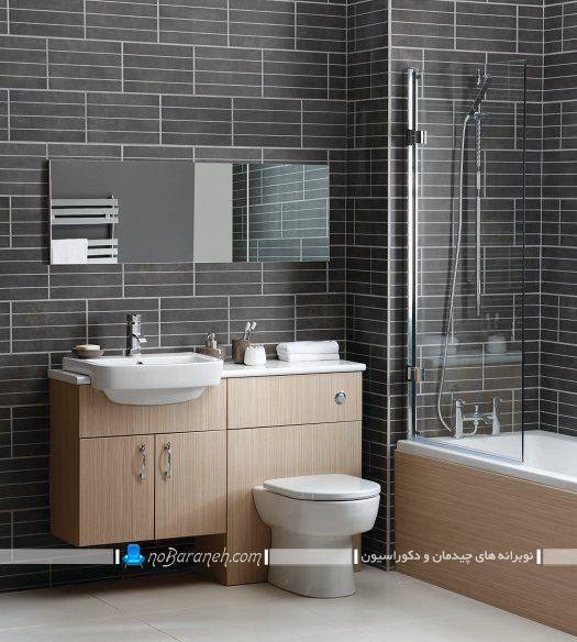توالت فرنگی روشویی دار در یک ست چوبی و سنگی برای سرویس بهداشتی شیک مدرن جدید. مدل های جدید توالت فرنگی با روشویی و کابینت
