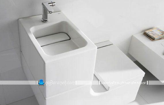 عکس مدل توالت فرنگی روشویی دار برای سرویس بهداشتتی کوچک و کم جا. مدل های مدرن توالت فرنگی و روشویی کمجا
