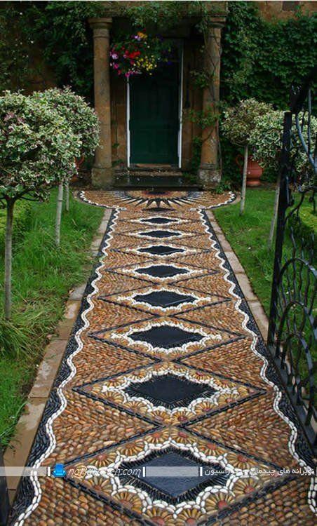 سنگ فرش باغ و ویلا با طرح های فانتزی