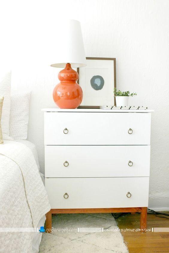 میز پاتختی کشو دار دراوری سفید رنگ برای چیدمان در کنار تخت خواب عروس در مدل شیک مدرن فانتزی. میز پاتختی دراوری کشو دار شیک فانتزی مدرن