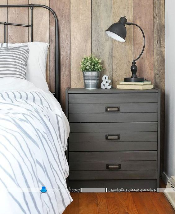 عکس مدل میز پاتختی کشو دار و بزرگ برای چیدمان کنار سرویس و تخت خواب. دراور کوچک و میز کنار تخت خواب