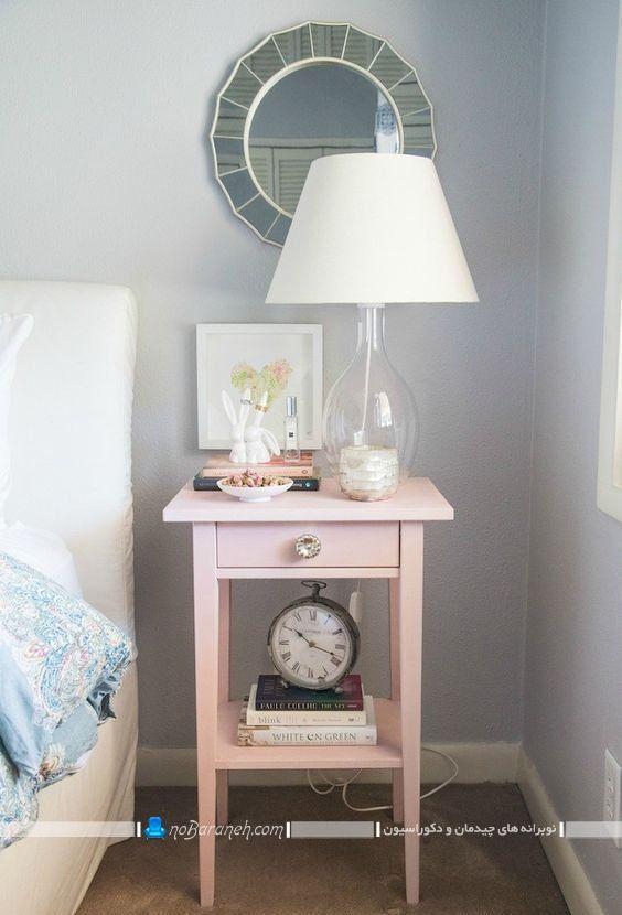 میز پاتختی و کنار تختی فانتزی ایکیا با رنگ صورتی رنگ شیک ارزان قیمت کلاسیک برای کنار سرویس خواب عروس. مدلهای تزیین میز کنار تخت و پاتختی.