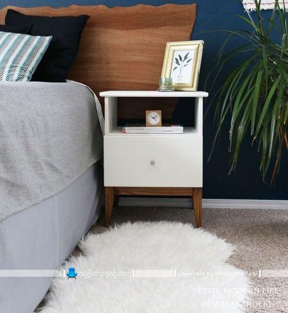 عکس مدل های جدید میز پاتختی و کنار تختی طراحی شیک و مدرن ساده باکس و کمد دار.