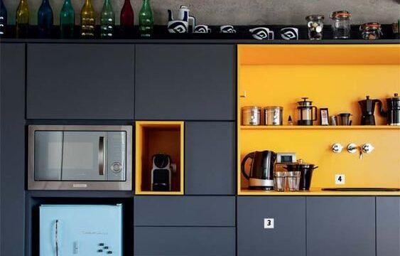 کابینت سرمه ای با دیوارهای زرد در دکوراسیون آشپزخانه
