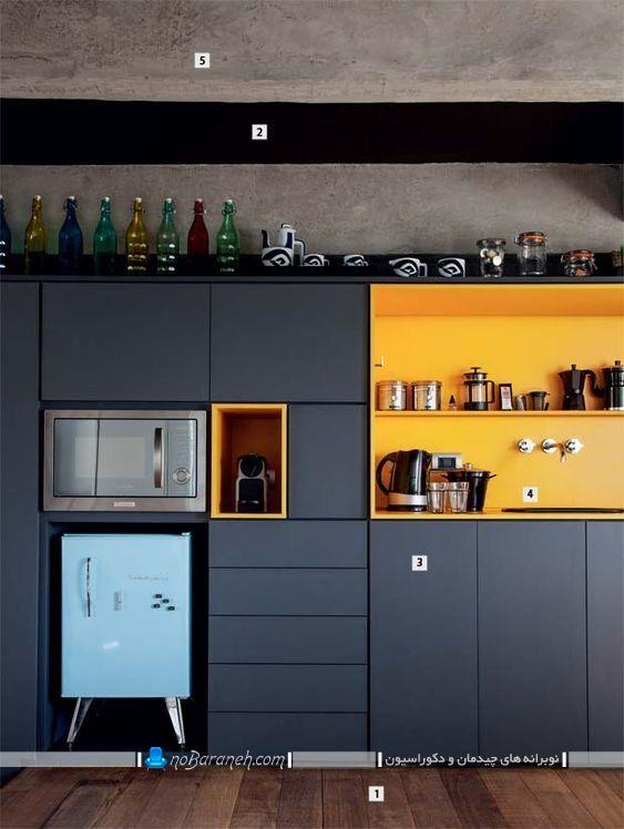 تزیین آشپزخانه با رنگ آمیزی زرد و خاکستری