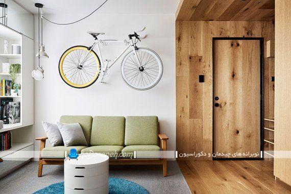 چیدمان خانه کوچک زیر 40 متر یک خوابه مدرن شیک فانتزی. عکس مدل طراحی دکوراسیون اتاق پذیرایی کوچک با تزیینات مدرن شیک.