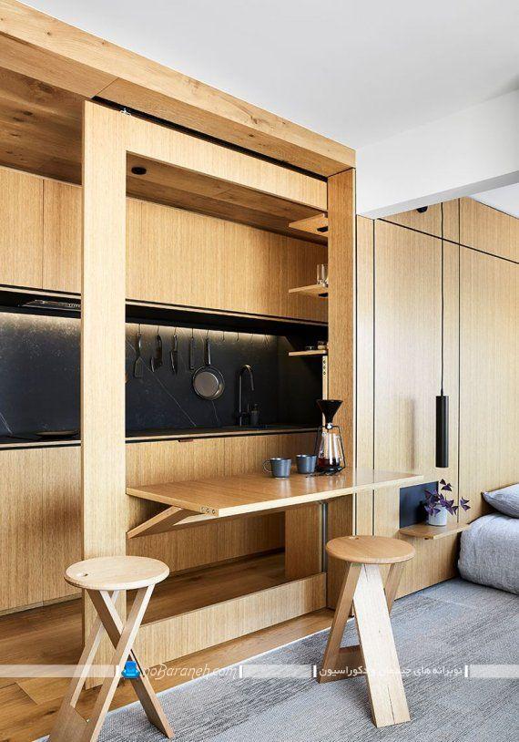 دکوراسیون و چیدمان خانه کوچک با طراحی شیک مدرن. مدل میز ناهارخوری کوچک دو نفره کمجا تاشو دیواری با جنس چوبی.