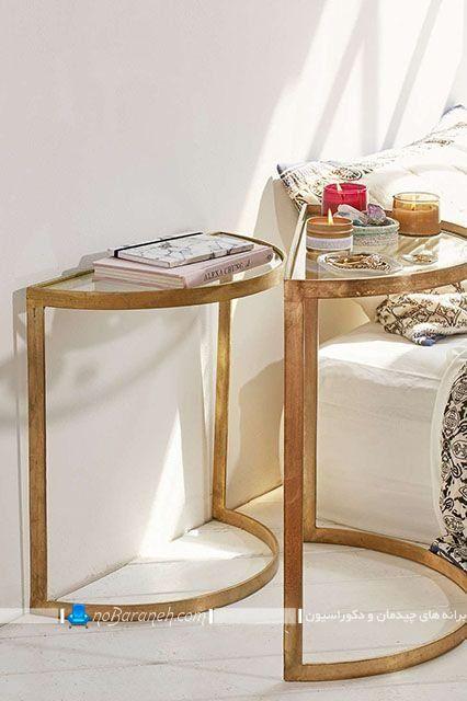 میز پاتختی و عسلی شیشه ای و فلزی فانتزی شیک مدرن با طرح و مدل جدید فلزی. مبل کمجا شیک و فانتزی