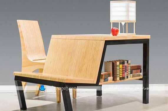 مدل میز تحریر کودک کم جا طرح جدید چوبی با کتابخانه و ارتفاع کم به شکل مبل کمجا.