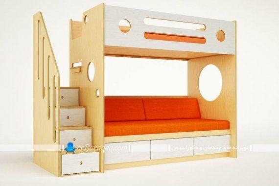 تخت خواب کمجا پله دار و کاناپه دار برای صرفه جویی در فضای خانه. مدل مبل کمجا تخت خواب شو طرح جدید با کشوهای جادار و بزرگ.