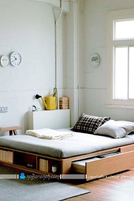 مدل جدید تخت خواب کشو دار و باکس دار دو نفره چوبی برای اتاق عروس با طراحی شیک و مدرن ساده به شکل مبل کمجا