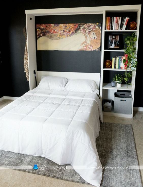 تخت خواب چوبی و تاشو دیواری در مدل جدید مدرن شیک برای اتاق عروس. مبل تخت خوابشو سفید رنگ شیک مدرن.