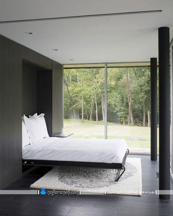 تختخواب تاشو اتاق عروس به شکل دیواری و کمجا. مدل ساده سرویس خواب چوبی کمجا برای اتاق خواب های کوچک در مدل مدرن.