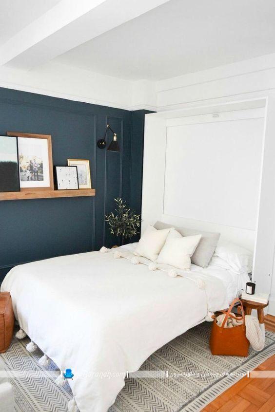 تختخواب تاشو دیواری سفید رنگ برای اتاق عروس داماد در مدلهای متنوع کمجا و ارزان قیمت قابل جابجایی.