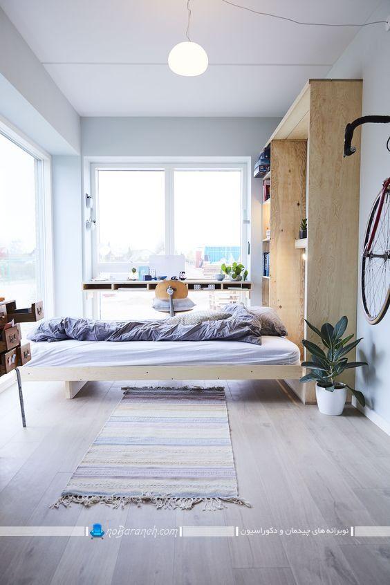 عکس تخت دو نفره تاشو دیواری مدرن شیک چوبی با طرح و مدل جدید ویترین دار.