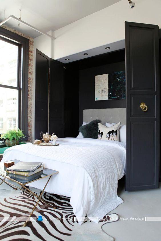 تخت تاشو دو نفره دیواری و کمجا با طرح مدل شیک مدرن به شکل کمد.
